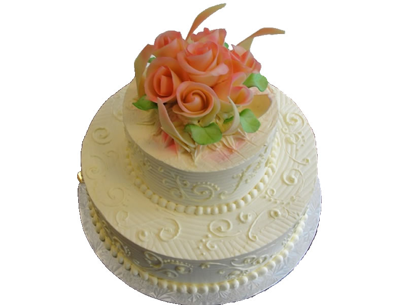 Tiered Floral Engagement Cake #1