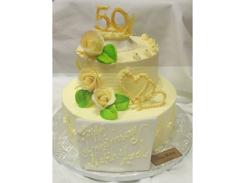 Hearts 50th Anniversary Cake