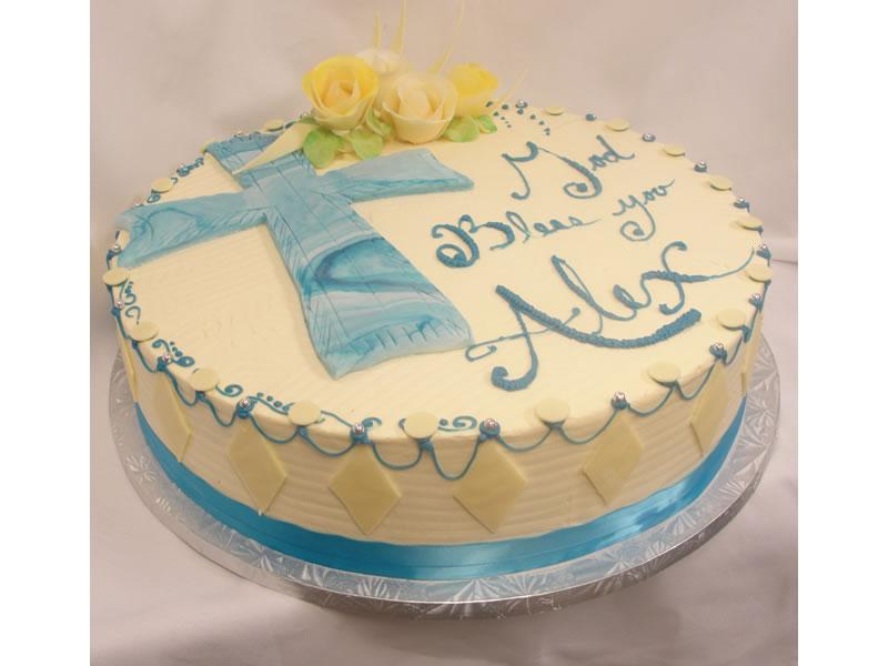 Blue Cross Baptism Cake