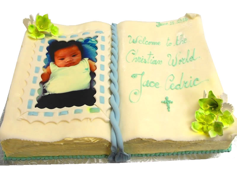 Photo Book Baby Shower Cake