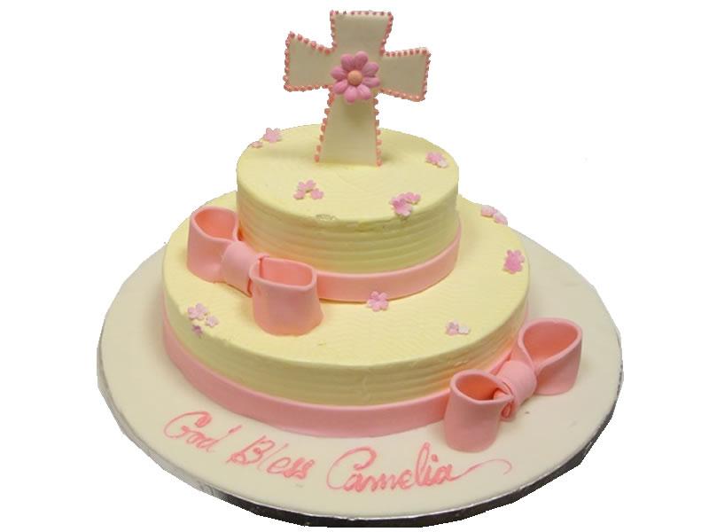 Pink Cross Baptism Cake