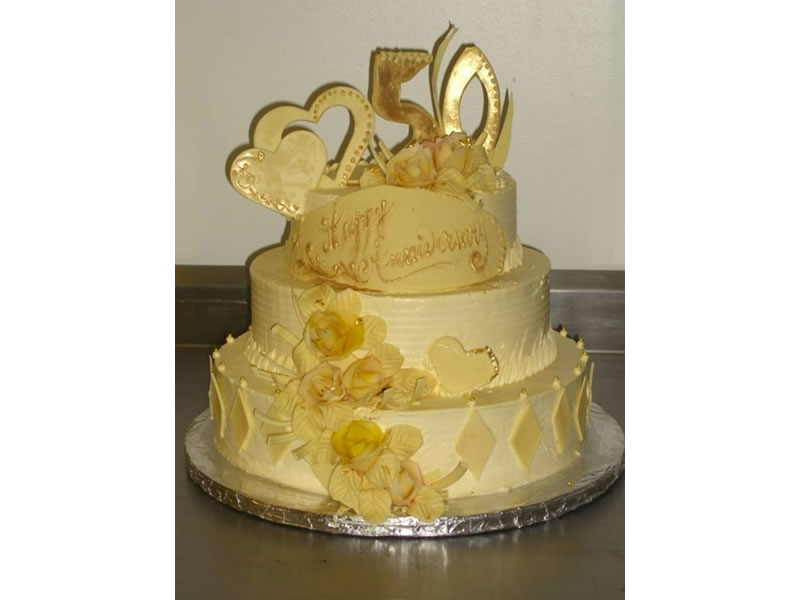 Gold 50th Anniversary Cake