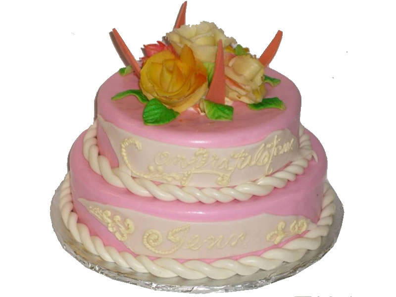 Pink and Floral Baby Shower Cake