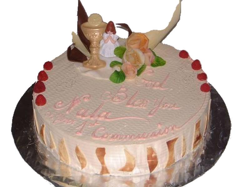 Round First Communion Cake