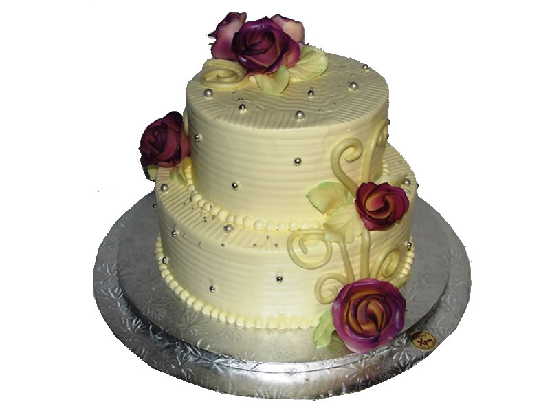 Tiered Floral Engagement Cake #2