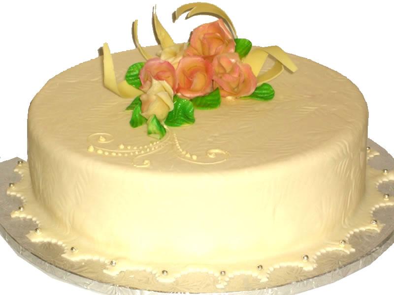 White Chocolate Curls Baby Shower Cake
