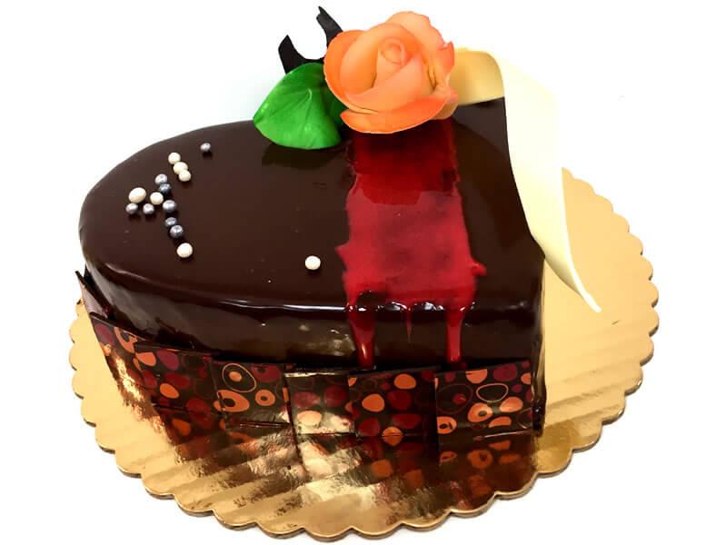 Dark chocolate raspberry heart cake